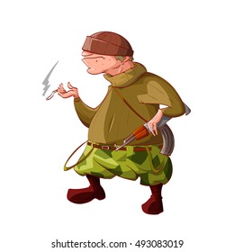Colorful vector illustration of a cartoon rebel / separatist guerilla fighter. Wearing a hat, sweater, cammo pants, boots. Smoking a cigarette and holding a automatic asault rifle.