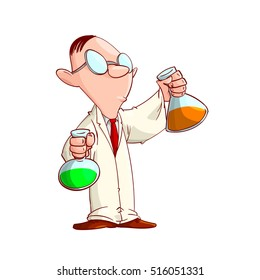 Colorful vector illustration of a Cartoon Scientist with glasses