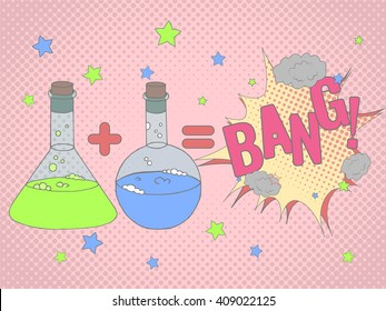 Colorful vector illustration with chemical tubes in hand drawn style. Cartoon chemical reaction formula and Bang speech bobble. Background  or poster in pop art style.