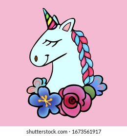 Colorful vector illustration for the children. Baby Pegasus and flowers.