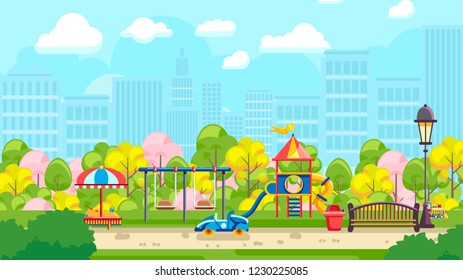 Colorful vector illustration of city playground with urban background
