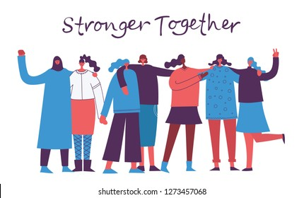Colorful vector illustration concept of Happy women or girls standing together and holding hands. Group of female friends, union of feminists, sisterhood in flat design