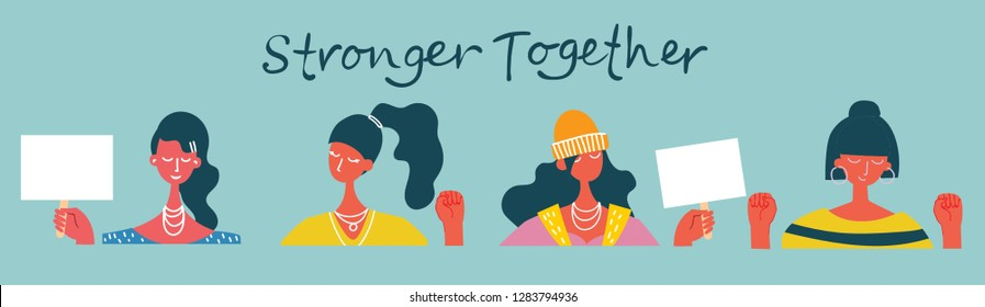 Colorful vector illustration concept of Happy women or girls . Group of female friends, union of feminists, sisterhood in flat design