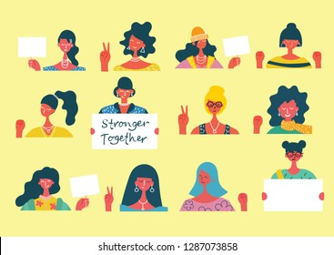 Colorful vector illustration concept of Happy women or girls activists with banners and placards . Group of female friends, union of feminists, sisterhood in flat design