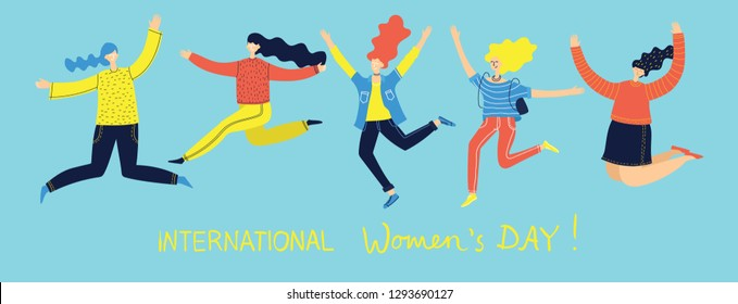 Colorful vector illustration concept of Happy Women's internarional day . Group of jumping happy female friends, union of feminists, sisterhood in flat design