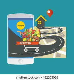Colorful vector illustration concept for online ordering of food. delivery vector illustration concept for grocery delivery