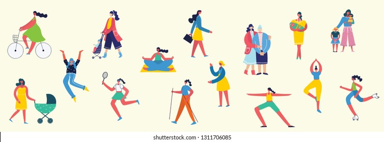 Colorful vector illustration concept set of different activities of women for Happy Women's internarional day . Group of happy female friends, mothersin flat design