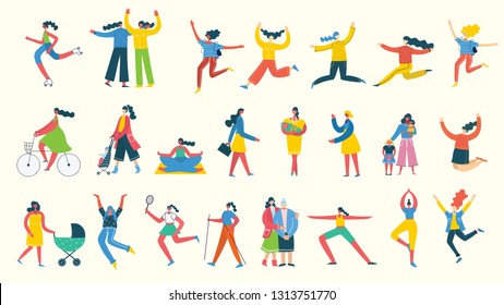 Colorful vector illustration concept set of different activities of women for Happy Women's internarional day cards, posters and banners . Group of happy female friends, mothers in flat design