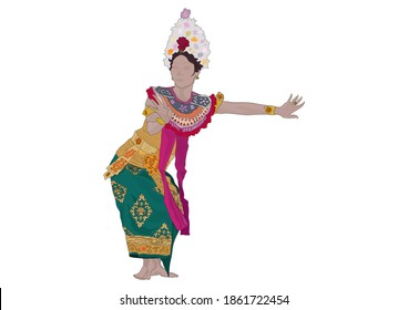 Colorful vector illustration of a dancer in traditional Balinese costume.