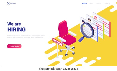 "Colorful vector illustration: empty office chair and sign ""vacancy"". Website header design concept with message ""We are hiring"".  Banner for recruiting agency/personnel department. Team member search."