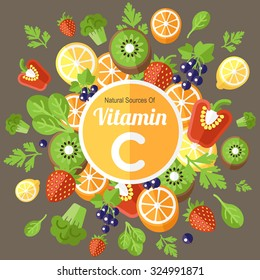 Colorful vector illustration of fruits and vegetables rich in vitamin C. Flat style.