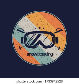 colorful vector illustration of goggles for snowboarding.