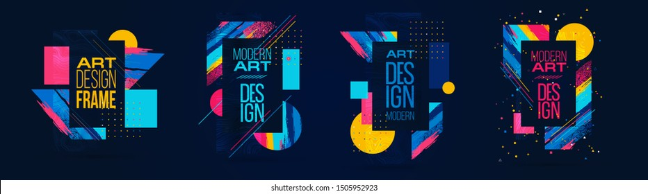 colorful vector illustration. graphic design modern frame for text. in the style of abstract art, ideal for advertising posts, it will highlight your product and sales discounts. abstract vector brush