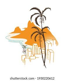Colorful vector illustration of graphical representation of Rio de Janeiro city landscape, Brazil. View of Pão de Açúcar and buildings. Stylized art representing the current moment.