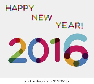 Colorful vector illustration with greeting happy new year