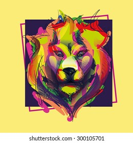 Colorful vector illustration head of a lion, design graphics for T-shirts and stylish prints. watercolor effect