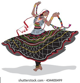 Colorful vector illustration of an Indian gypsy dancer from Rajasthan, India