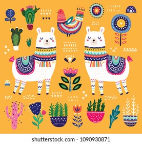Colorful vector illustration with llama, flowers, bird and ethnic design elements
