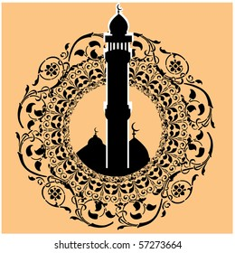 a colorful vector illustration of a masjid art in silhouette