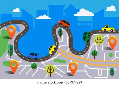 Colorful vector illustration in modern flat style. City map with orange pin and winding road. A lot of colorful cars and skyscrapers on background. Traffic jam concept. Web banner