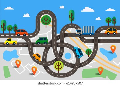 Colorful vector illustration in modern flat style, transportation concept. Winding roads with a lot of cars and truck on city map top view. Can used for web banners and info graphic.