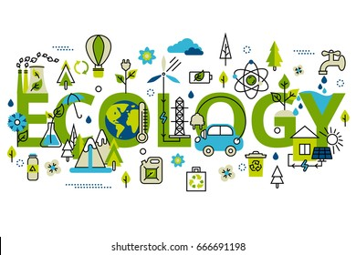 Colorful vector illustration in modern flat line style, ecology concept horizontal web banner.  Green energy, ecology problem and alternative fuel. For info graphics and graphic design.
