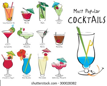 Colorful vector illustration of the most popular cocktails
