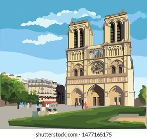 Colorful vector Illustration of Notre Dame Cathedral (Paris, France). Landmark of Paris. Cityscape with Notre Dame Cathedral.