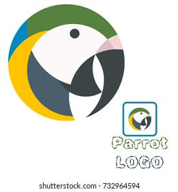 colorful vector illustration of the parrot with white background, a small logo of an exotic bird