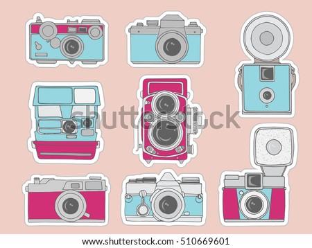 Camera Vintage Vector Free : Colorful vector illustration retro camera set stock vector royalty