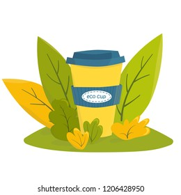 Colorful vector illustration. Reusable cup among green leaves. Zero waste sustainable concept. Eco lifestyle
