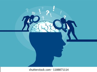 Colorful vector illustration of scientists researching brain and psychology of human on blue background