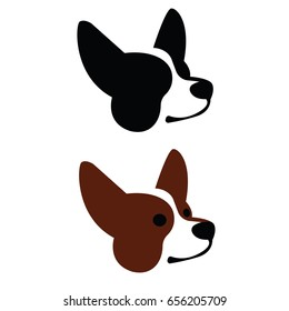 Colorful vector illustration set of dog head of Welsh Corgi breed