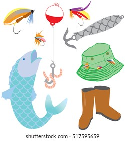 Colorful vector illustration set of fishing icons
