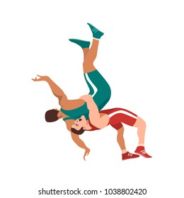 Colorful vector illustration. Two fighters on a arena. This could stand for greco-roman, freestyle, collegiate, scholastic, amateur wrestling or MMA.