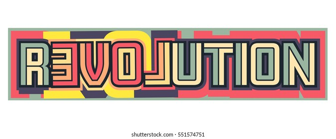 Colorful vector illustration of the words love and revolution together