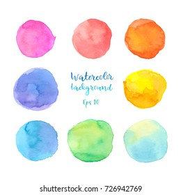 Colorful vector isolated on white set of watercolor paint circles. Eps 10 illustration.