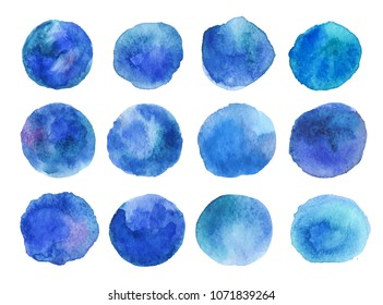 Colorful vector isolated watercolor blue paint circles. Watercolour round elements for logo design, banners, posters.Hand drawn abstract background