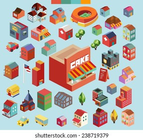 Colorful vector isometric city and buildings collection