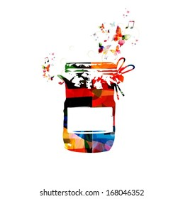 Colorful vector jar background with butterflies.