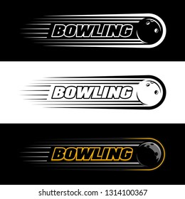 Colorful vector logo of bowling,with the image of the ball in bowling,accelerating after the throw