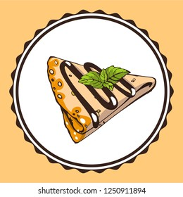 Colorful vector logo for French crepe pastry, triangle Suzette with chocolate dessert with mint. Line drawing Fried thin pancakes with chocolate sauce.