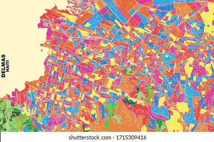 Colorful vector map of Delmas, Ouest, Haiti. Art Map template for selfprinting wall art in landscape format.