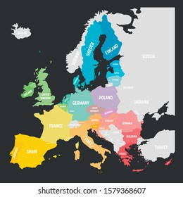 Colorful vector map of EU, European Union, member states.