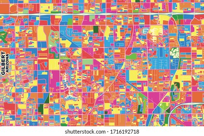 Colorful vector map of Gilbert, Arizona, U.S.A.. Art Map template for selfprinting wall art in landscape format.