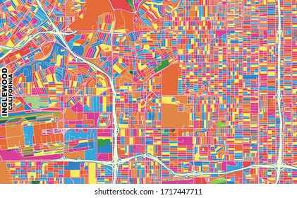Colorful vector map of Inglewood, California, USA. Art Map template for selfprinting wall art in landscape format.