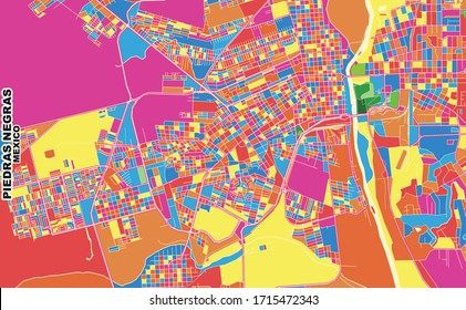 Colorful vector map of Piedras Negras, Coahuila, Mexico. Art Map template for selfprinting wall art in landscape format.