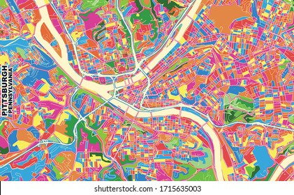 Colorful vector map of Pittsburgh, Pennsylvania, U.S.A.. Art Map template for selfprinting wall art in landscape format.