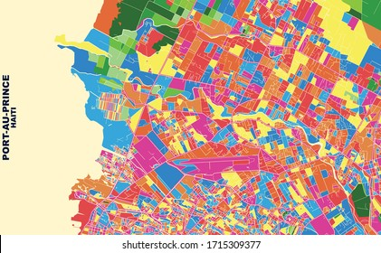 Colorful vector map of Port-au-Prince, Ouest, Haiti. Art Map template for selfprinting wall art in landscape format.