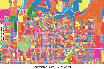 Colorful vector map of Sioux Falls, South Dakota, USA. Art Map template for selfprinting wall art in landscape format.